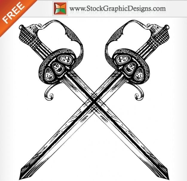 Hand drawn heraldic espada ilustração vetorial grátis