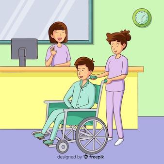 Hand drawn nurse helping patient