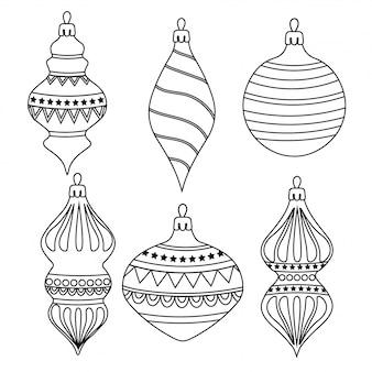 Hand drawn outline coleção de bolas de natal para colorir