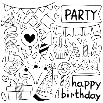 Hand drawn party doodle desenho de feliz aniversário