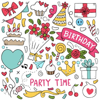 Hand drawn party doodle happy birthday padrão de fundo de ornamentos