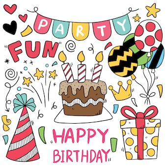 Hand drawn party doodle happy birthday padrão de fundo de ornamentos