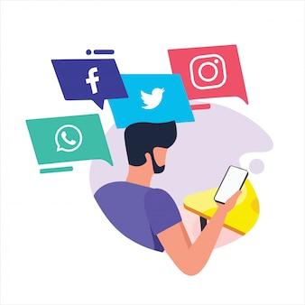 Hand drawn social media atividades de pessoas de negócios