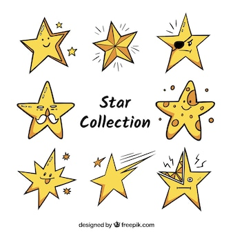 Hand drawn star pack of eight