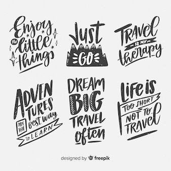 Hand drawn travel lettering emblemas