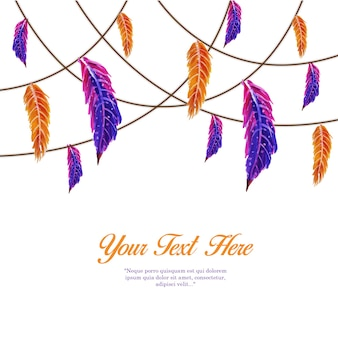 Hand drawn watercolor orange e roxo feather string template background