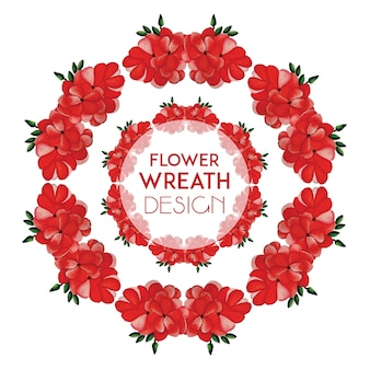 Hand drawn watercolor red flowers wreath design