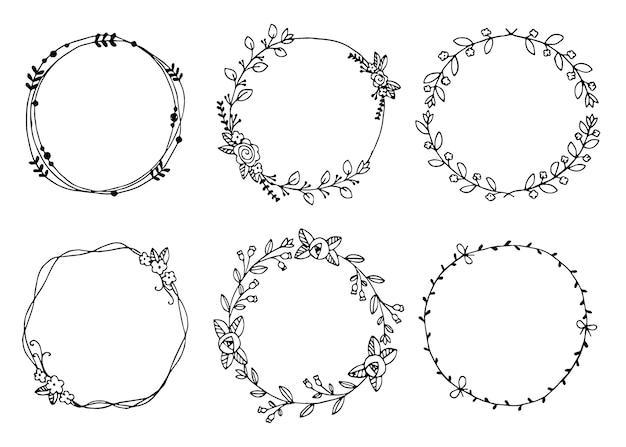 Hand drawn wreaths vector illustration elementos de design para convites
