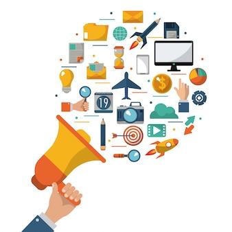 Hand holding megaphone advert marketing comercial
