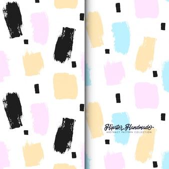 Hand made brush strokes seamless patterns