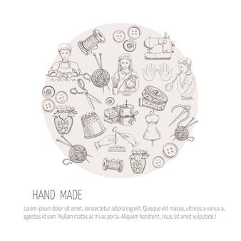 Hand made conceito com ícones de trabalho de metal de esboço de alfaiataria
