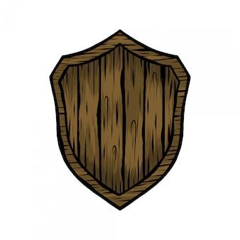 Handdrawing ilustração vintage escudo madeira