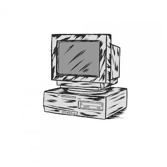 Handdrawing ilustração vintage gravura em computador