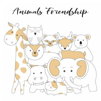 Handdrawn animais bonitos amizade desenhos animados