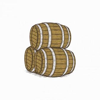 Handdrawn barril de vinho vintage