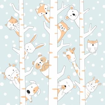 Handdrawn cute animals cartoon com neve e árvore
