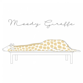 Handdrawn cute animals desenhos animados de girafa mal-humorado