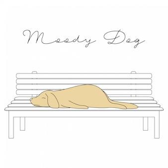 Handdrawn cute animals moody dog cartoon