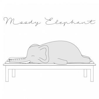 Handdrawn cute animals moody elefante dos desenhos animados