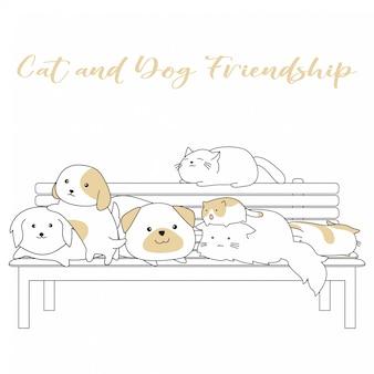 Handdrawn cute cat and dog amizade dos desenhos animados