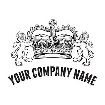 Handdrawn lions com coroa, modelo de logotipo