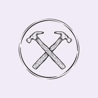 Handdrawn logotipo vintage cruz martelo