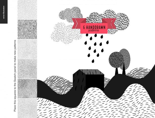 Handdrawn padrões com uma paisagem