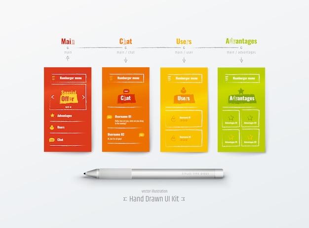 Handdrawn ux ui kit aplicativo móvel experiência do usuário interface do usuário