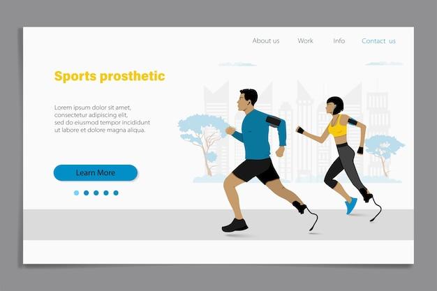 Handicap corredores homem e mulher correndo em esportes artificiais pés lâminas. modelo de site da página de destino protética de esportes.