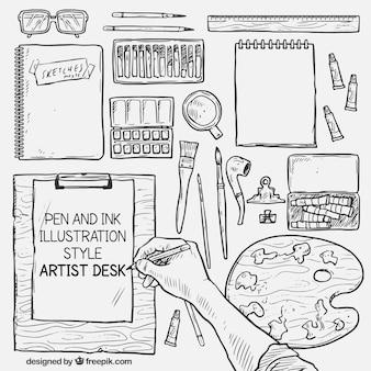 Handrawn designer desk