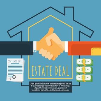 Hands handshake conceito de negócio imobiliário