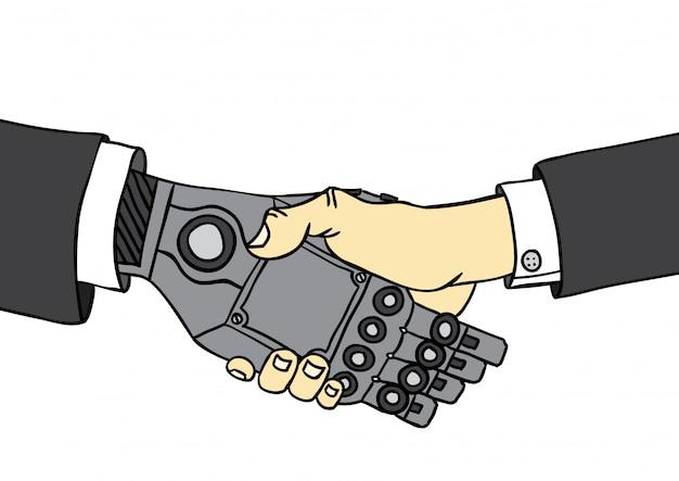 Handshake de humanos e robôs de negócios