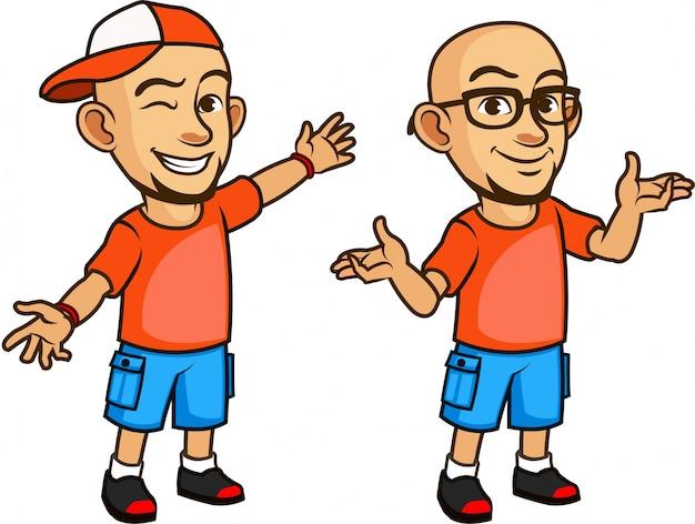 Handsome bald geeky young man em desenhos animados de óculos