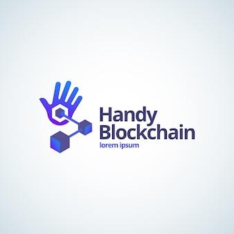 Handy blockchain tecnologia abstrata sinal, símbolo ou modelo de logotipo. Vetor Premium