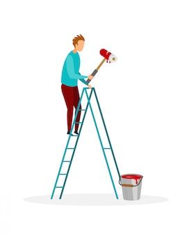 Handyman painting wall ilustração vetorial plana
