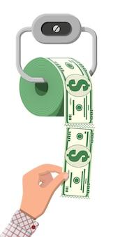 Hank de dinheiro em dólar de papel higiênico. investimento de resíduos de lixo. perder ou desperdiçar dinheiro, gastos excessivos, falência ou crise. ilustração vetorial em estilo simples