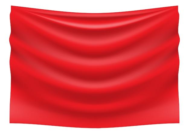 Hank vermelho da onda de cetim da tela no fundo branco