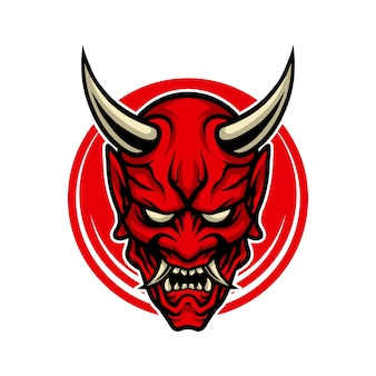 Hannya icon cartoon.demon mask.