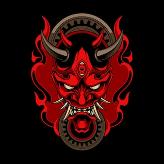 Hannya, o demônio tradicional japonês, máscara oni com fogo