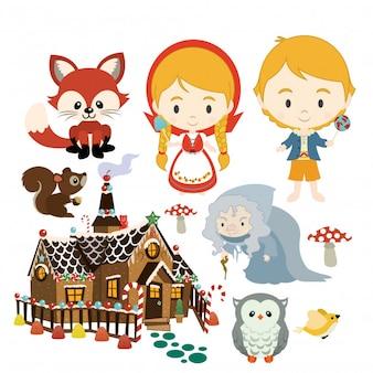 Hansel Gretel conjunto de caracteres