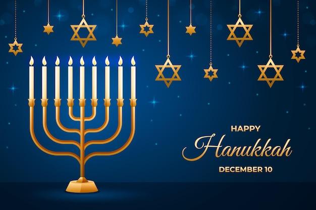 Hanukkah azul e dourado