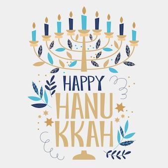 Hanukkah desenhado à mão com velas