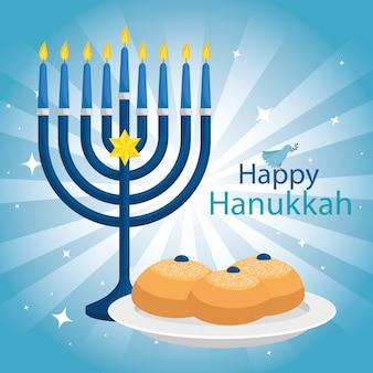 Hanukkah feliz com candelabro
