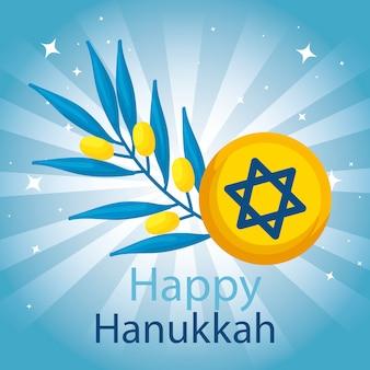 Hanukkah feliz com estrela david e ramo de oliveira