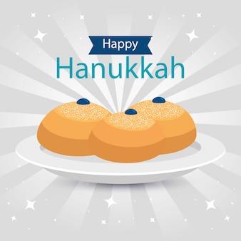 Hanukkah feliz com pães redondos