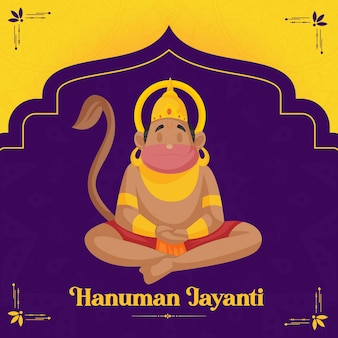 Hanuman jayanti deseja com fundo roxo
