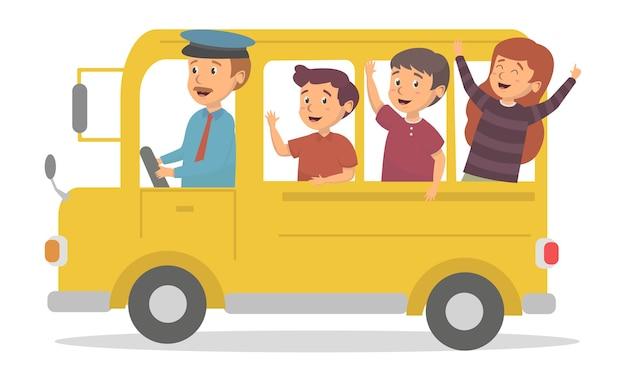 Happines kids vai para a escola por ilustração do conceito de ônibus