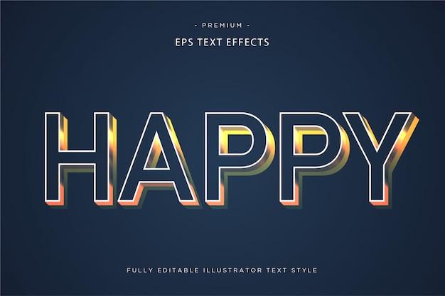 Happy 3d text effect estilo de texto 3d