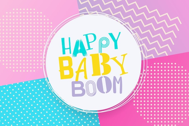 Happy baby boom estilo retro cenário de férias 80s 90s pop art letras de texto em quadrinhos baby boom