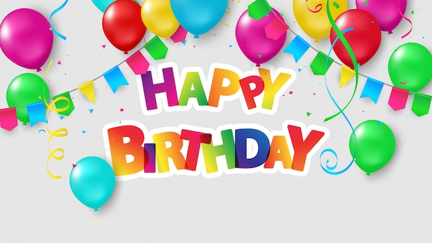 Happy birthday balloons celebração colorida com confete.